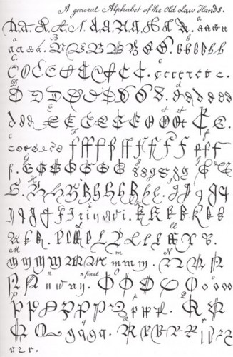 Alphabet of old law hands