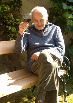 Old man drinking wine